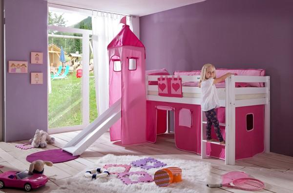 Alex Halfhoogslaper Roze/Hearts + Glijbaan en Toren - kleur: Roze - Beds and More