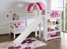 Bennie Hoekstapelbed Wit + Glijbaan - Thema Pink Hearts