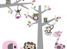 DecoDeco muursticker Boom + tak Jungle pink