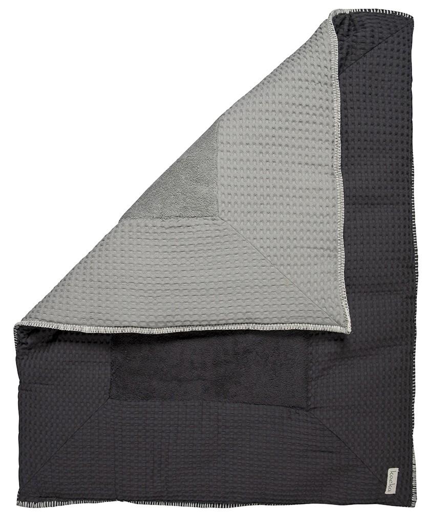 Koeka Boxkleed Amsterdam Wafel Silver Grey / Dark Grey Large - kleur: Antraciet - Koeka