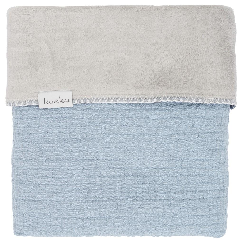 Koeka Ledikantdeken Elba Soft Blue/ Silver Grey - kleur: Blauw - Koeka
